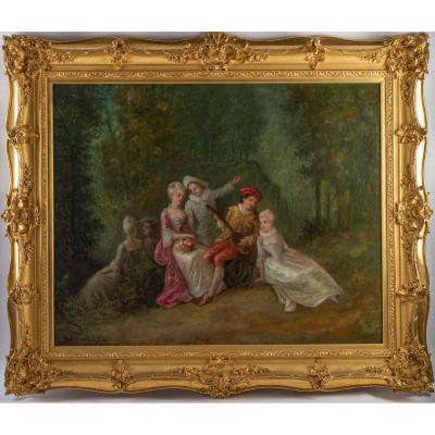 Huile sur toile scène Romantique XIXème siècle