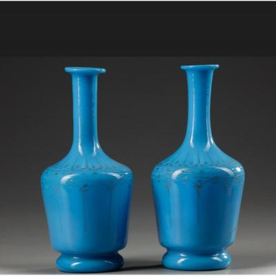 A PAIR OF OPALINE CARAFES, LATE 19TH CENTURY<br />