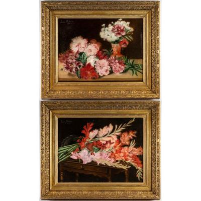 Paire De Tableaux Fleurs XIXéme Siècle