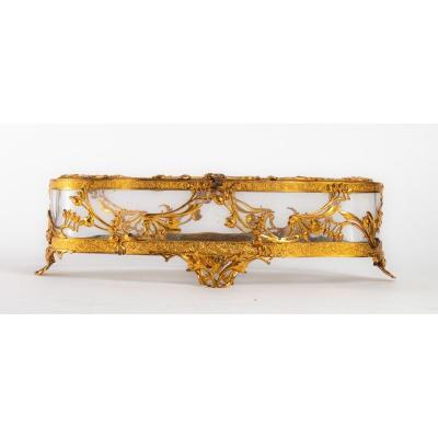Boite à Bijoux En Cristal Et Bronze Doré  XIXème Siècle