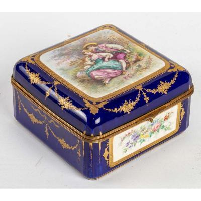 Coffret En Porcelaine Bleu Fin XIXème Siècle