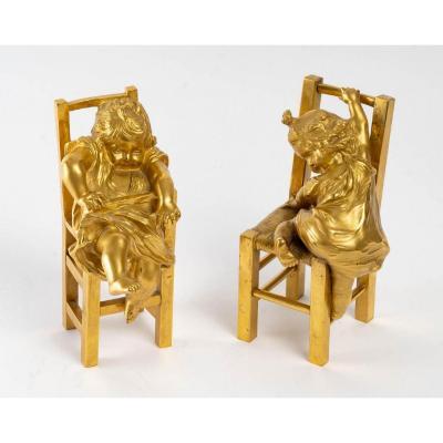 Pair Of Gilt Bronze Sculptures XIXth Century