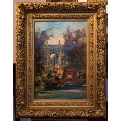 Important Table Oil On Canvas View Of Venice Late Nineteenth Century