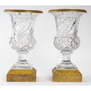 Paire De Vases En Cristal Et Bronze Doré Fin XIXème Siècle