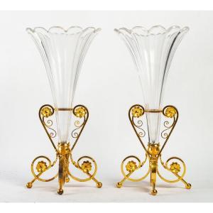 Paire De Vases Cornet En Cristal Fin XIXème Siècle