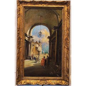 Tableau XIX Vue De Venise Huile
