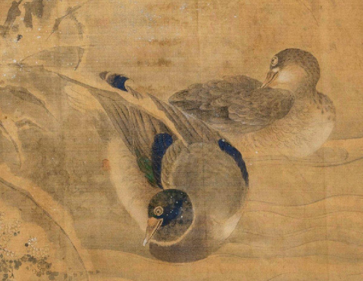 Peinture Sur Soie d'Un Couple De Canards Mandarins, Japon, Période Edo-photo-3
