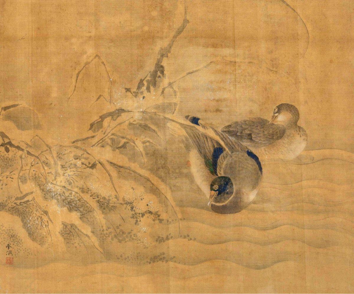 Peinture Sur Soie d'Un Couple De Canards Mandarins, Japon, Période Edo