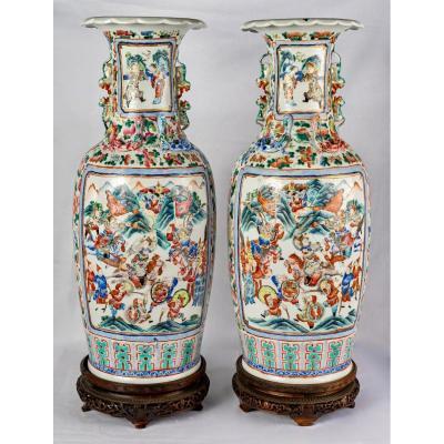 Paire De Grands Vases Famille Rose, Période Tongzhi, 19e Siècle