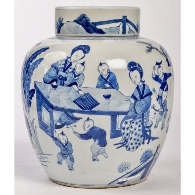 Pot à Gingembre Chinois Bleu Et Blanc Couvert, Règne De Kangxi (1662-1722)