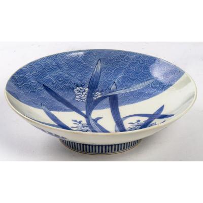 Plat Japonais Nabeshima Bleu Et Blanc à Décor De Narcisses, 19e Siècle