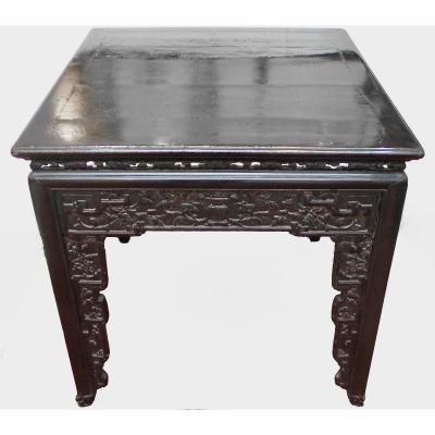 Table Carrée Chinoise En Laque, Fin De La Dynastie Qing