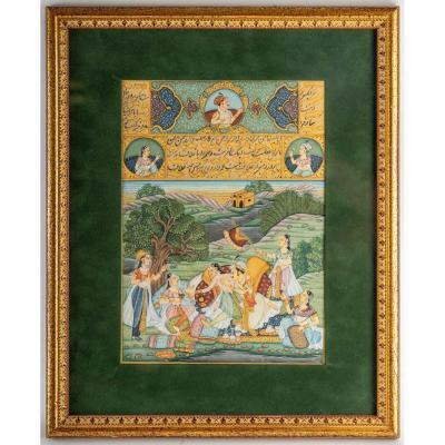 4 Miniatures Indo-persanes Sur Papier, 19e Siècle