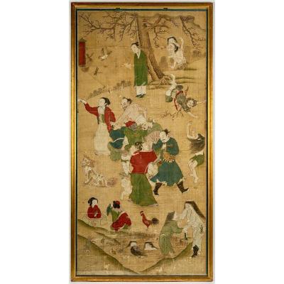 Grande Peinture Chinoise Sur Le Jugement Des âmes, Dynastie Ming