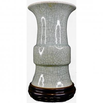 Grand Vase Cornet Gu A Couverte De Type Ge-Yao, Chine, 18e Siecle
