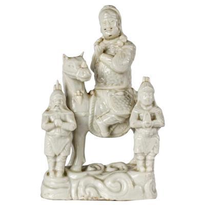 Guandi à Cheval En Porcelaine Blanc De Chine, 18ème Siècle