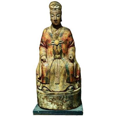 Grande Statue En Bois d'Un Roi Céleste, Dynastie Ming/qing
