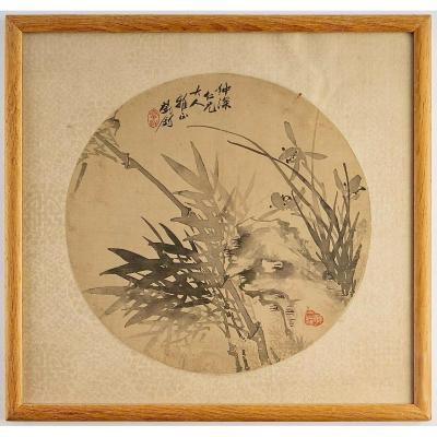 Peinture Chinoise Circulaire Sur Soie d'Orchidées Et De Bambous, Chine, 19ème Siècle