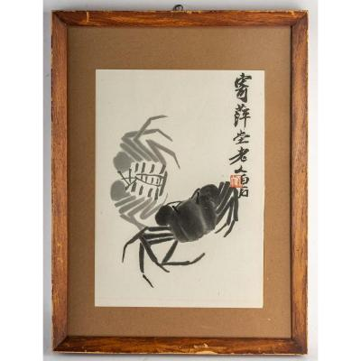 Two Crabs, Lithograph After Qi Baishi