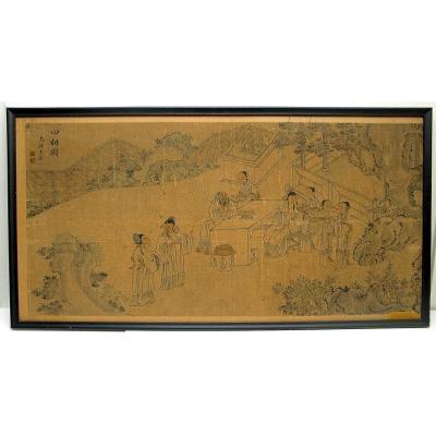 """""""Réunion de lettrés"""", peinture chinoise sur papier signée Wucheng Wang Jun, 19ème Siècle"""