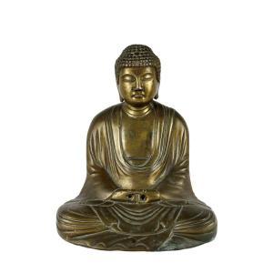 Statue De Bouddha Japonais En Bronze Doré