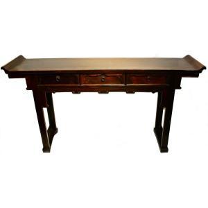 Table Chinoise Qiaotouan En Bois Dur Avec Tiroirs