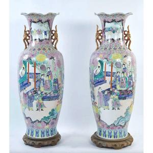 Paire De Vases Chinois Monumentaux En émaux Famille Rose, 20ème Siècle