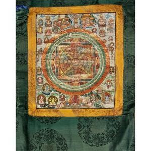 Petite Thangka à Décor d'Un Mandala, Tibet, 19/20ème