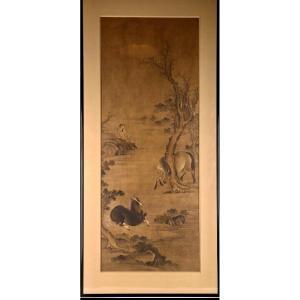 Peinture Chinoise Sur Soie De Deux Chevaux Et d'Un Palefrenier, 18/19ème Siècle