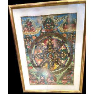 Thangka de la Roue de la Vie, Tibet, 20ème Siècle