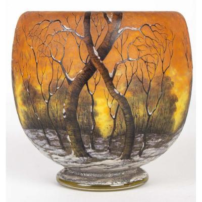 """Daum Nancy : Vase  - """"arbres En Hiver"""" Circa 1910 -"""