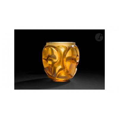 """R Lalique """"tourbillons """"  Amber Yellow Teinted"""