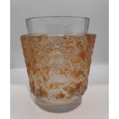 Lalique Vase Bacchus Patine Sienne