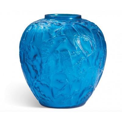 RenÉ Lalique Vase Aux «perruches» Verre Bleu