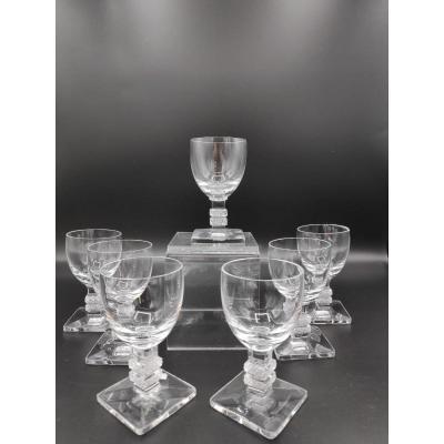 7 Lalique Liqueur Glasses From Argos Model.