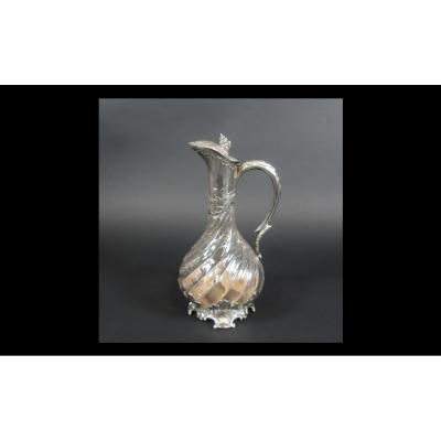 Crystal And Silver Baluster-shaped Ewer