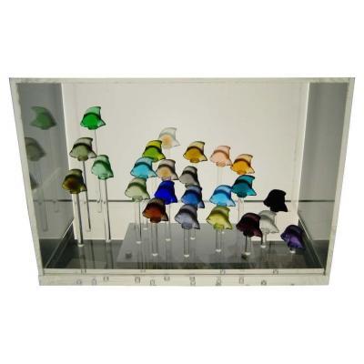 Lalique - 24 Poissons Dans Un Aquarium Avec Tiges Lumineuses