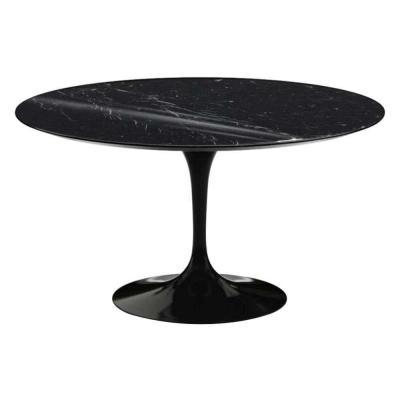 "Table ""Tulipe"" Saarinen & Knoll International, Marbre Marquina et Rilsan Noir"