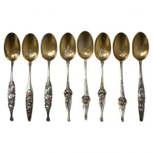 Cardeilhac : 8 Cuillères Argent Vermeil,1900
