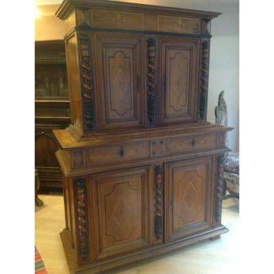 Buffet Two Corps Epoque XVII Century In Walnut