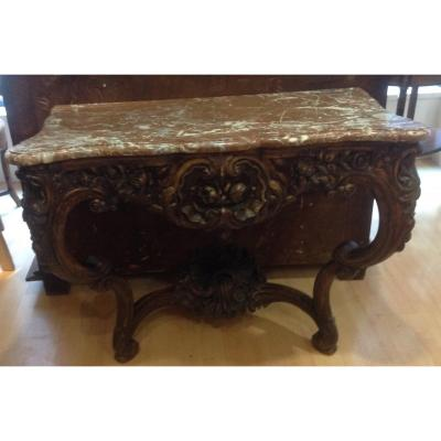 Louis XV Style Console In Natural Wood