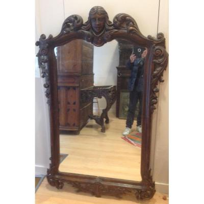 Natural Wood Mirror Early XX Century