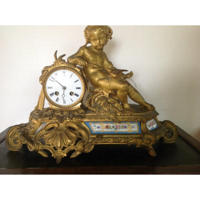 Napoleon III Clock In Gilt Bronze
