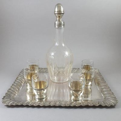 Glass And Sterling Silver Liquor Service
