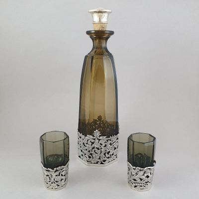 Crystal And Sterling Silver Carafe And Glasses