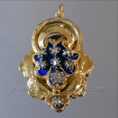 Pendentif Napoléon III Or Jaune émail Bleu Et Diamants