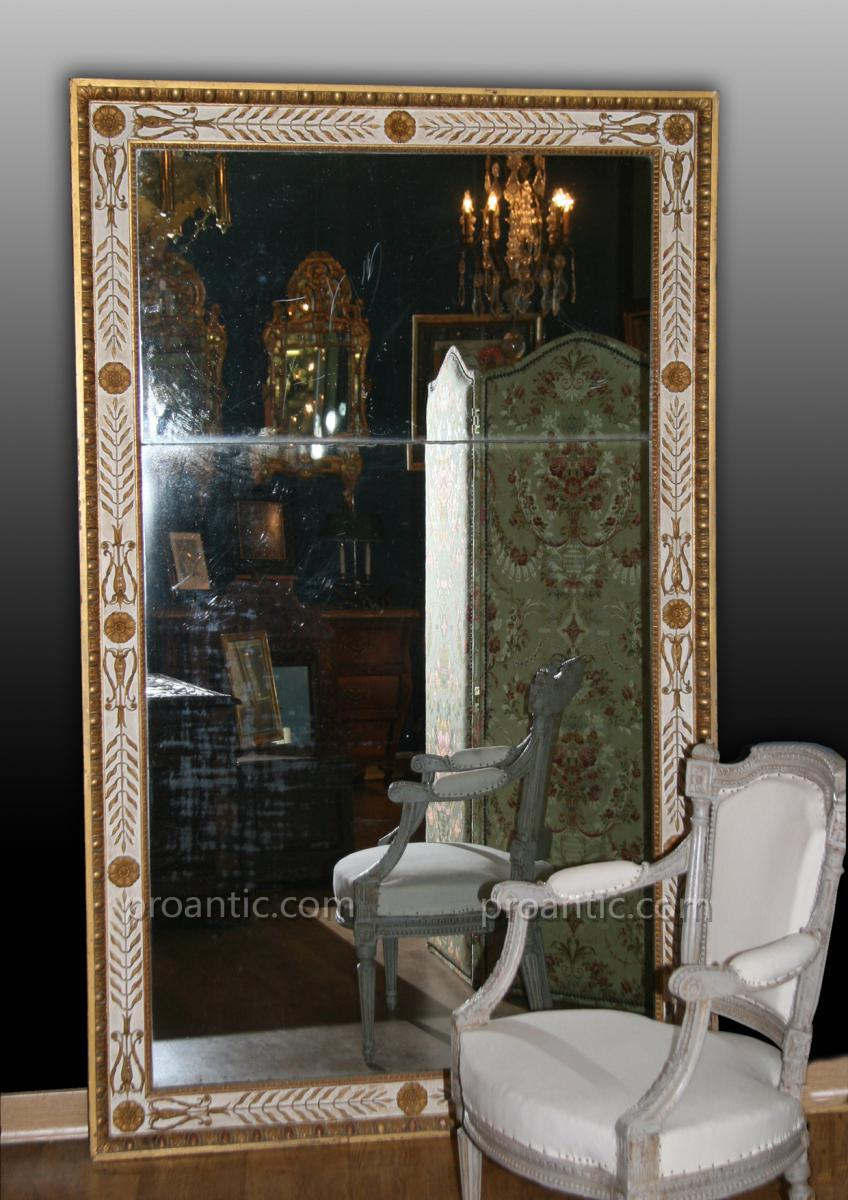 Grand Executive Wooden Mirror Gold And Ivory Rechampi To Leaf