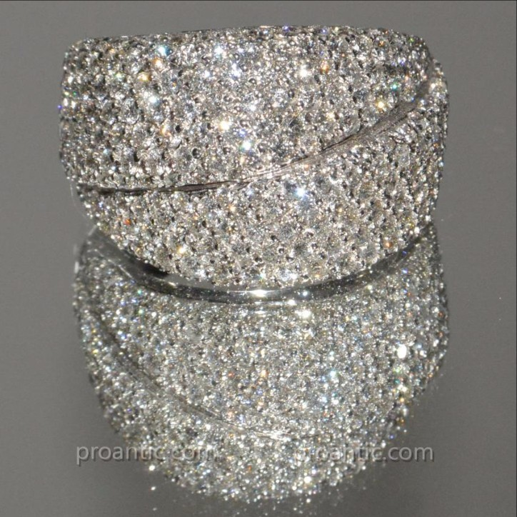 Bague Double Bandeaux Or Blanc Et Diamants