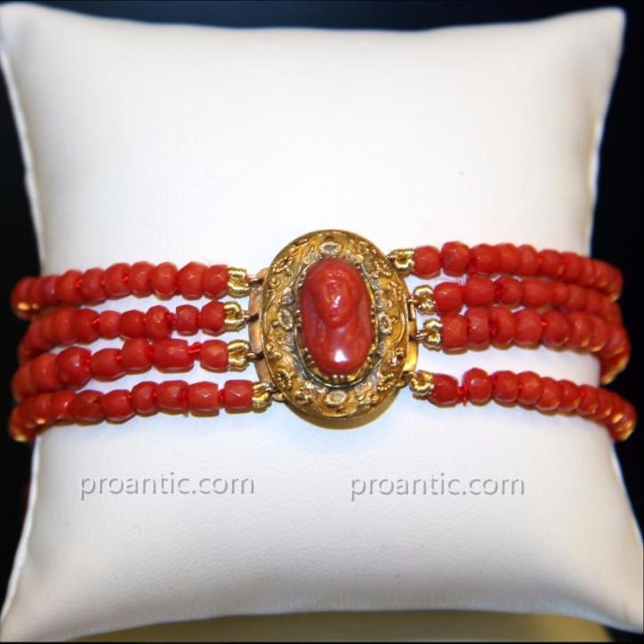 Bracelet Or Et Corail