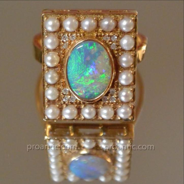 Bague Or Rose Opale, Perles Et Diamants